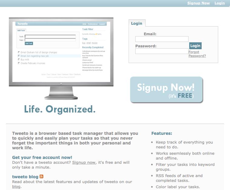Tweeto, organizador de tareas por RSS