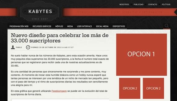 Opciones publicitarias en Kabytes