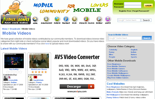 mobile videos celular