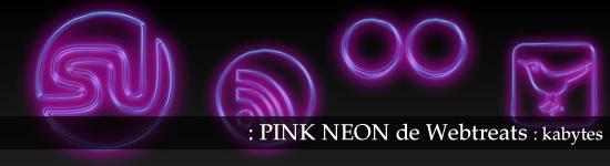 Iconos sociales de neon rosa