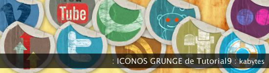 Iconos sociales grunge de etiquetas despegadas
