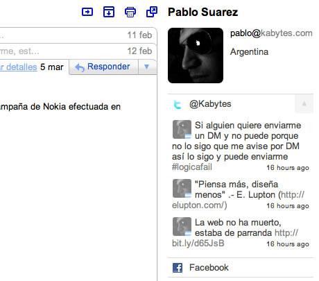 contactos gmail sociales