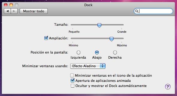 configuracion mac dock