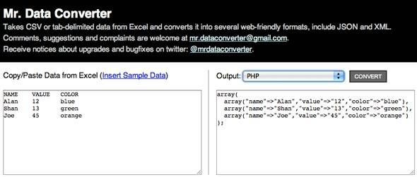convertir excel json php xml