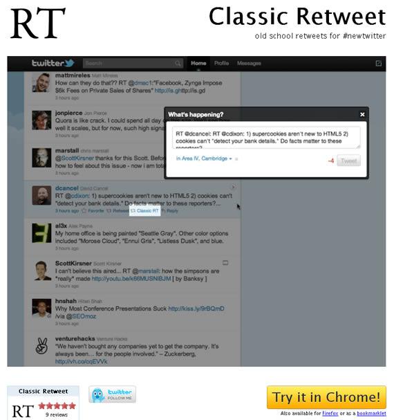 Retweet clasico desde web
