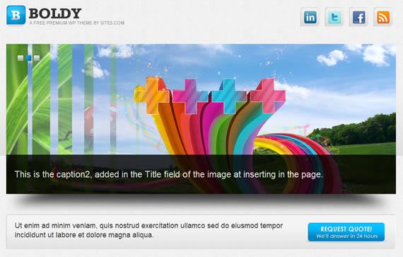 Plantilla para wordpress con slider de fotografías superior y secciones pequeñas debajo.