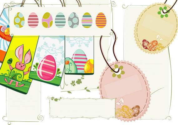 Vista de diversas opciones de etiquetas con ornamentos, huevos de ...