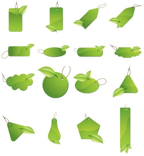 Variedad de gráficos estilo etiquetas colgantes de diferentes formas en color verde con hojas en la parte inferior.