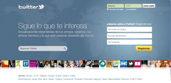 twitter homepage screen