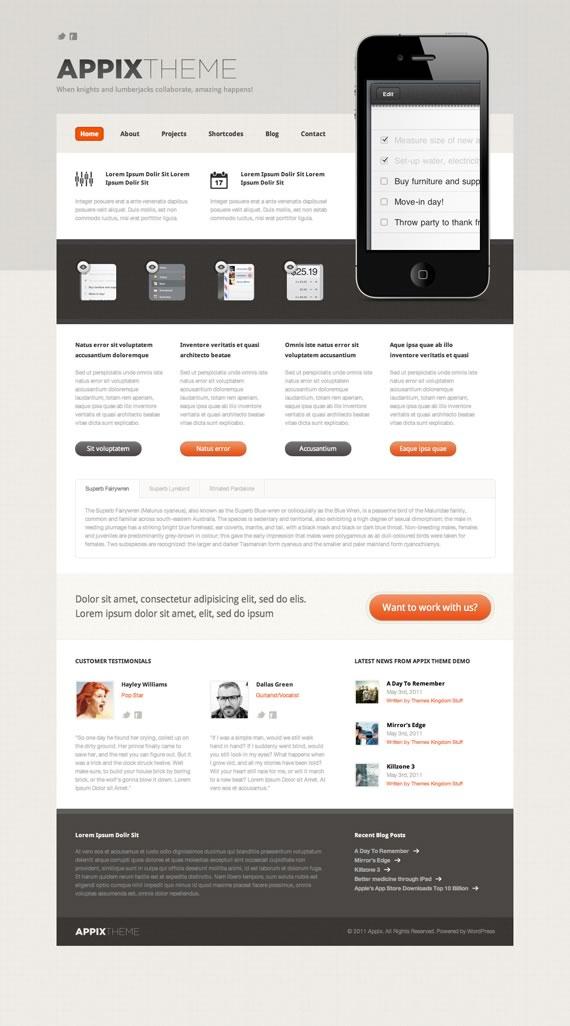 Vista previa de Appix, template de diseño web en tonos tierra, grises y destaques naranjas.