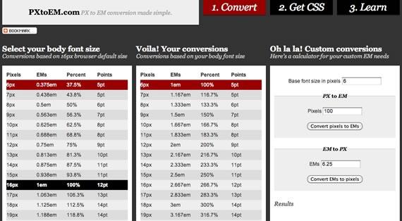 Tabla de opciones de tamaños tipográficos, conversión px a em y em a px.