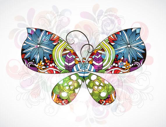Mariposa abstracta, elaborada con flores de gran variedad de formas y colores.