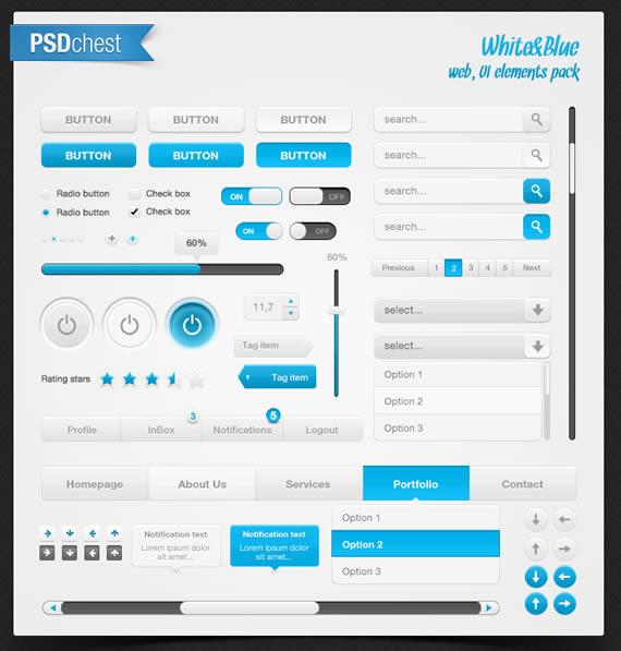 Vista de diferentes elementos de interfase web con destaques turquesa