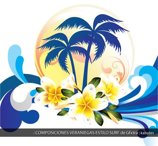Composicion con palmeras azules sobre un sol central con olas en forma de ornamentos hacia los costados y flores hawaianas blancas destacadas