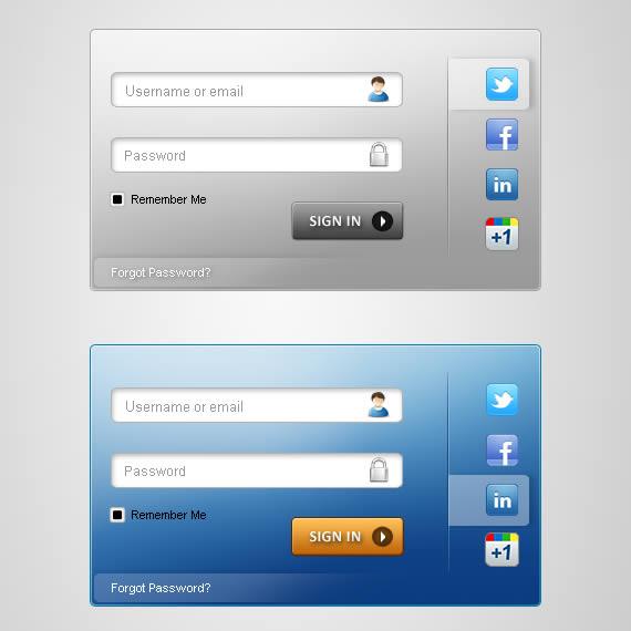 Formularios de acceso en azul y gris con espacio para usuario y contraseña y tabs con iconos de redes sociales a la derecha.
