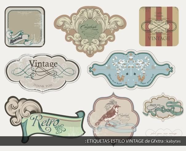 Muestrario de etiquetas estilo vintage con estilos variados