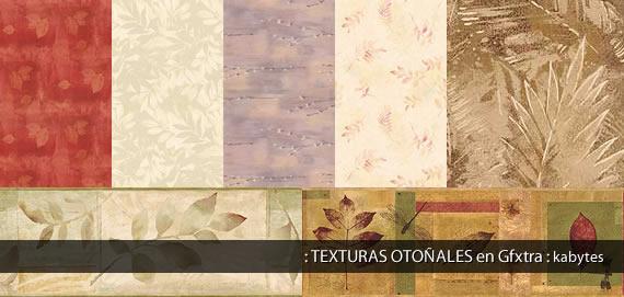 Variedad de texturas con motivos naturales y colores otoñales