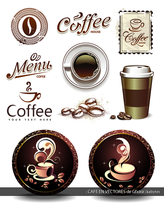 Sellos, granos y tazas referentes al café.