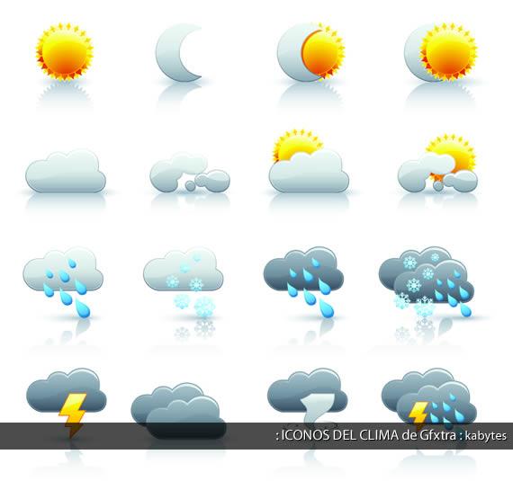 Set de iconos temáticos sobre el clima