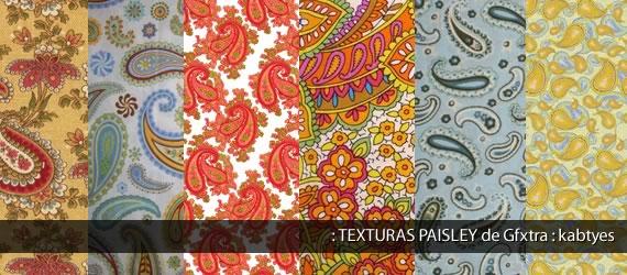 Muestrario de texturas con motivos paisley en varios colores
