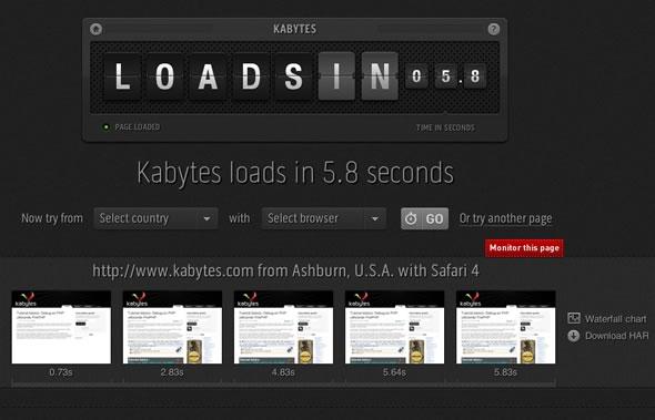 analizar el tiempo de descarga de un sitio