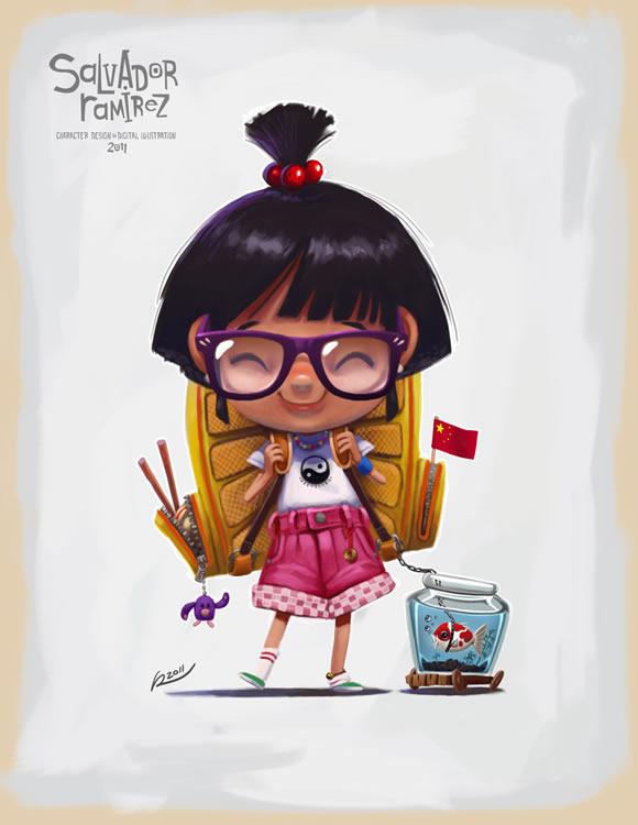 Pequeña niña china ilustrada, sonriente, con muchos detalles. De Salvador Ramirez Madriz