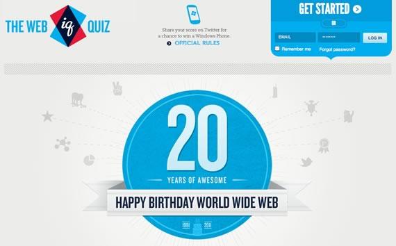 Página de inicio del Web IQ Quiz
