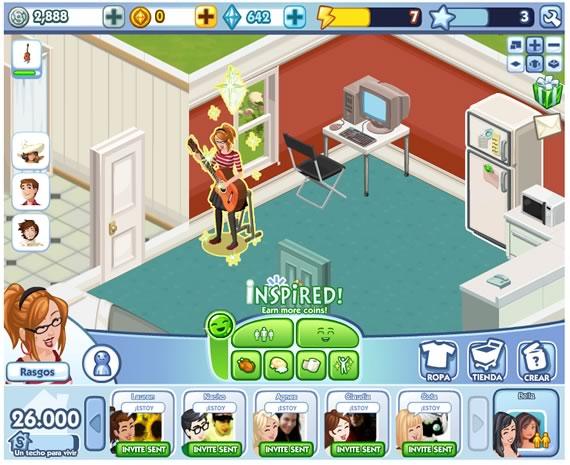 Vista del juego The Sims Social en funcionamiento