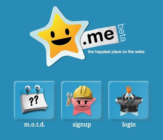 Página princpial de star.me con logo en sector superior central y tres opciones inferiores, con fondo azul.