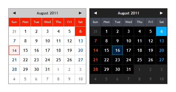 calendario jQuery liviano 4kb