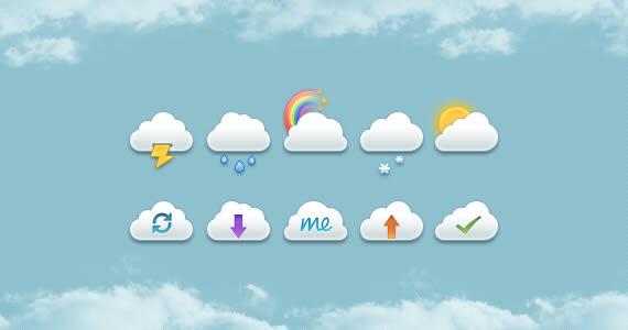Muestra de iconos con formas de nubes imitando el logo de iCloud