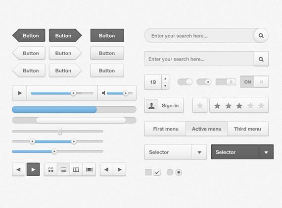 Muestrario de elementos para interfaz de usuario estilo soft