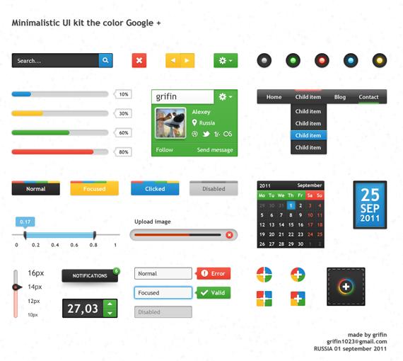 Muestrario de elementos UI inspirados en los colores de Google+