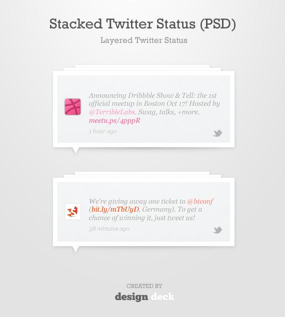 Estados de Twitter apilados en capas de estilo minimalista