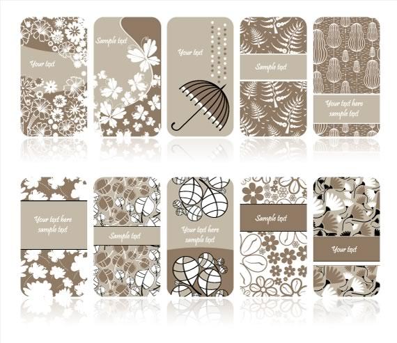Muestrario de 10 tarjetas personales vectorizadas en colores beige y blanco