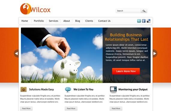 68100690a295e Wilcox  plantilla web para negocios en PSD - Kabytes