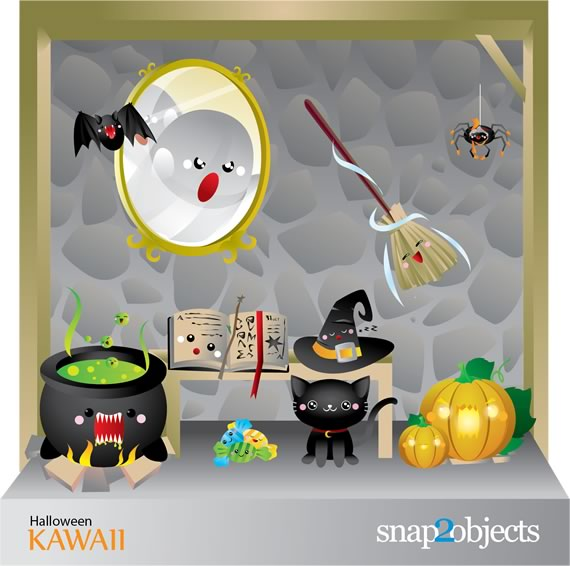 Set de elementos vectorizados de halloween con ollas, brujas, murcielagos, espejos, todos animados.