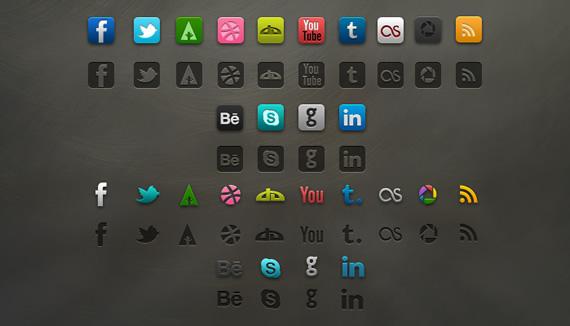 Muestrario del contenido del paquete Socialis, iconos sociales pixel perfect.