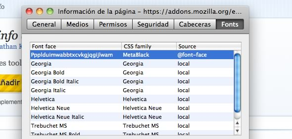 identificar fuente complemento extension Firefox