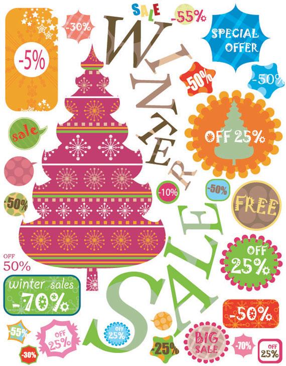 Vista previa de una de las colecciones incluídas en el paquete, etiquetas vintage para Navidad