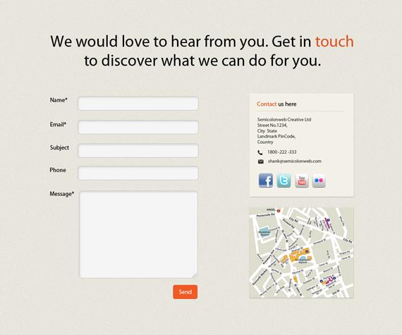 Vista previa de formulario de contacto con campos a la izquierda e información relevante y mapa a la derecha.