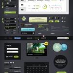 Vista previa de los elementos incluídos en el paquete de elementos UI Futurico