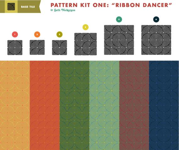 Vista previa de las opciones que ofrece el paquete Ribbon Dancer de texturas de ondas orientales