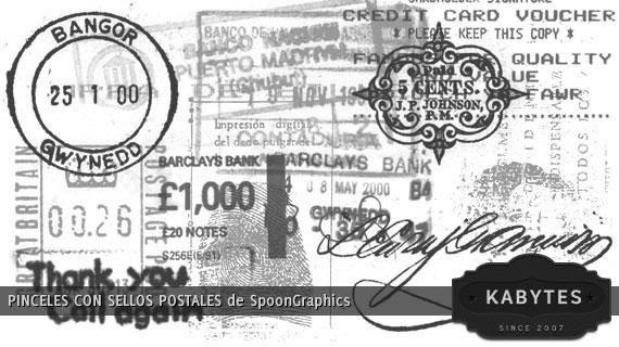 Vista previa de un paquete de sellos postales en formato pincel para Photoshop