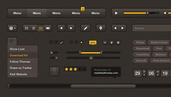 Vista previa de elementos para UI en marrones y amarillos