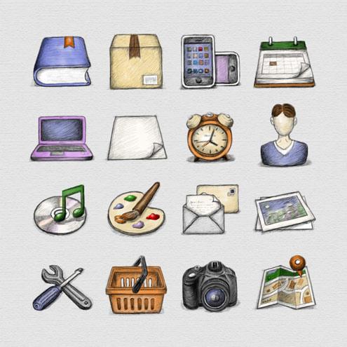 iconos dibujados con lapiz