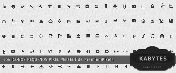 Muestrario de iconos muy pequeños con definición pixel perfect