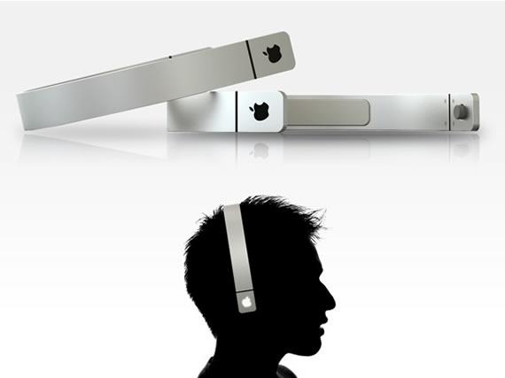 Vista previa del concepto en auriculares minimalistas estilo vincha para Apple
