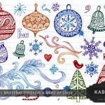 Muestrario de decoraciones navideñas vectorizadas