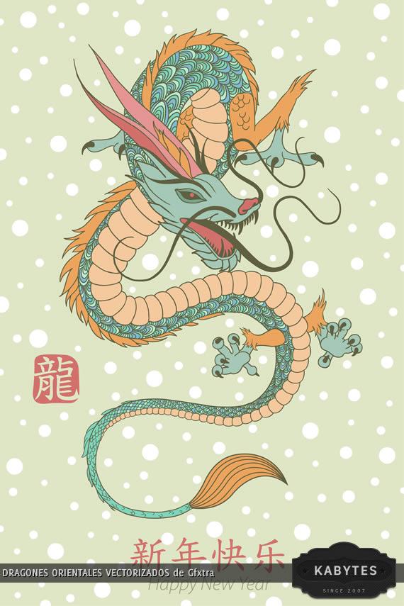 Vista previa de un dragon sobre fondo verde y sello chino